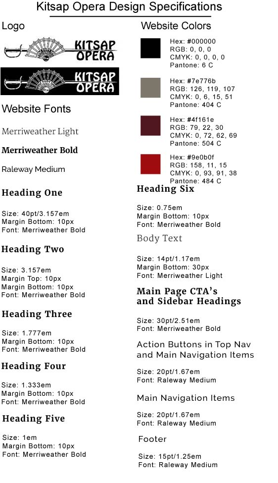 Kitsap Opera Design Specifications